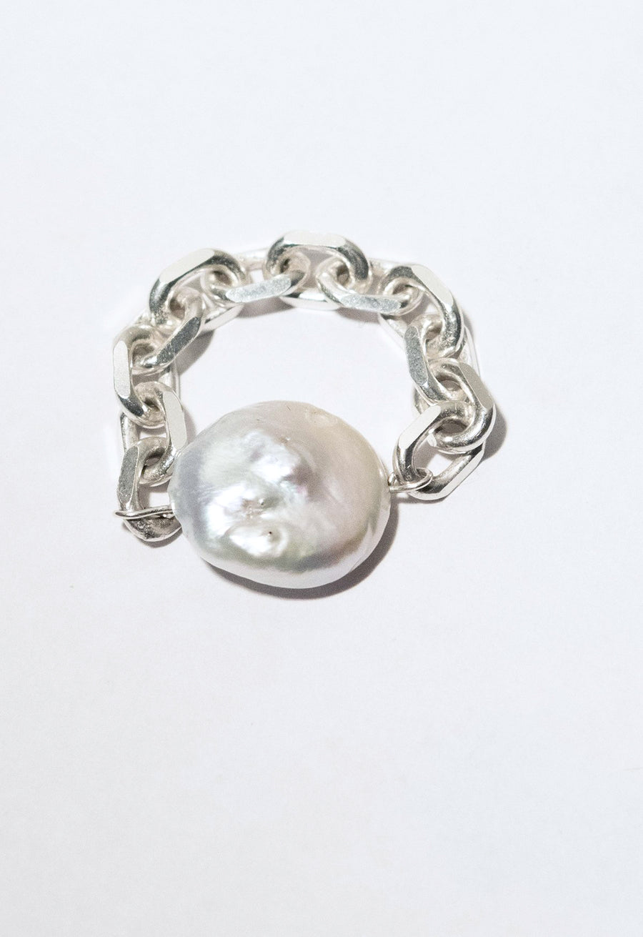 Thick Chain Pearl Ring