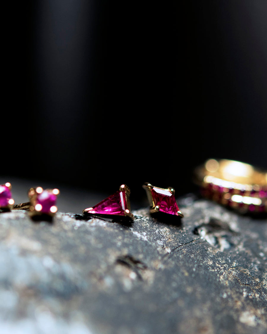 Diamond Cut Ruby Stud
