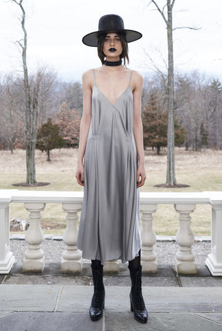 Vanessa M. IMG Model Wendy Nichol Clothing Designer Made to Order Custom Tailoring Made to Measure Handmade in NYC New York City Fashion Runway Show AW16 13 Incarnations Silver Gray Lavender Purple Silk Charmeuse Deep V Slip Dress Short plunge Neck Open low Back