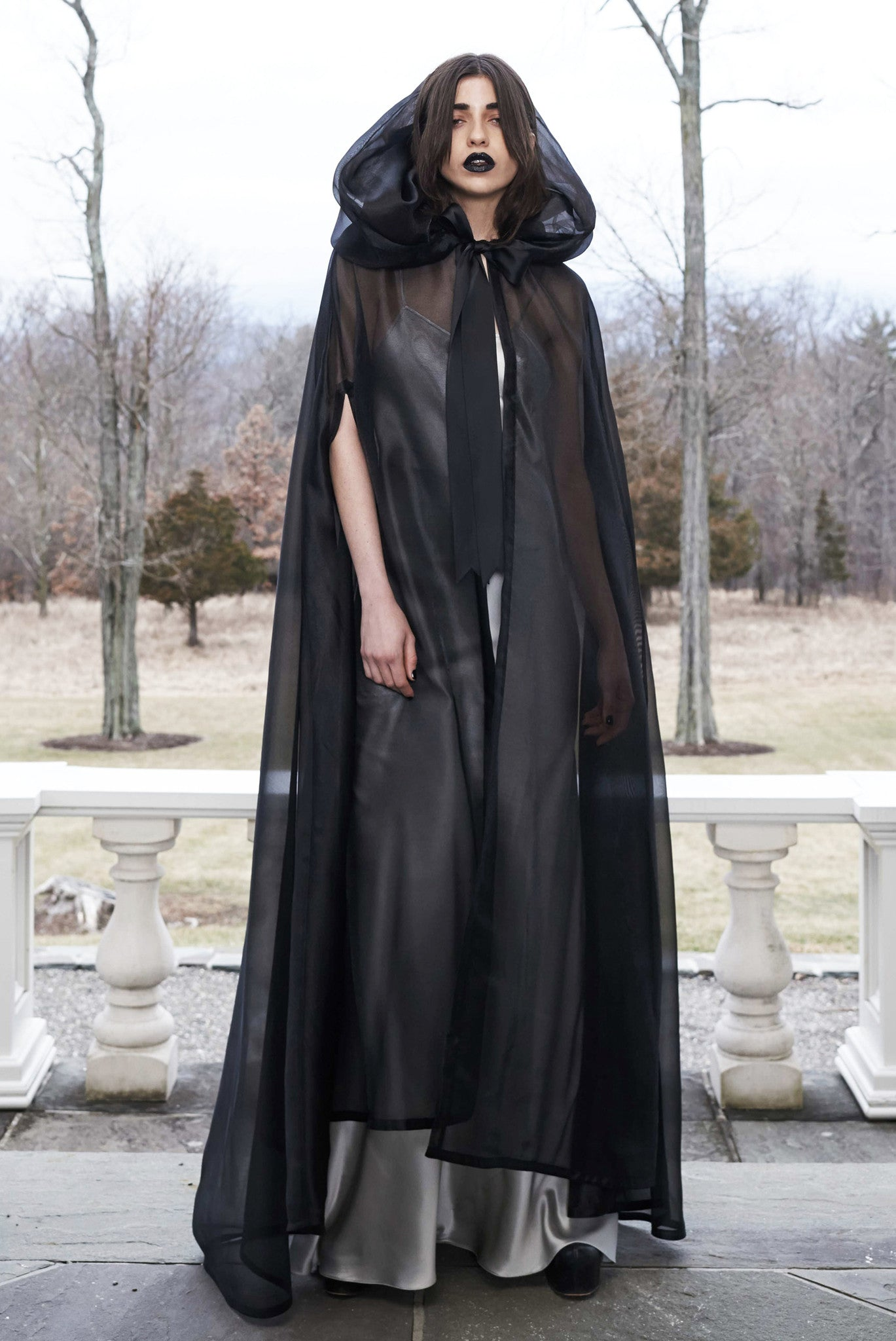 Vanessa M IMG Model Wendy Nichol Clothing Designer Fashion Show Runway 13 Incarnations Autumn Winter 2016 AW16  Handmade in NYC custom tailoring  Ghost Edwardian Black Sheer Organza Hooded Hood Cape Satin Bow Red Carpet Victorian
