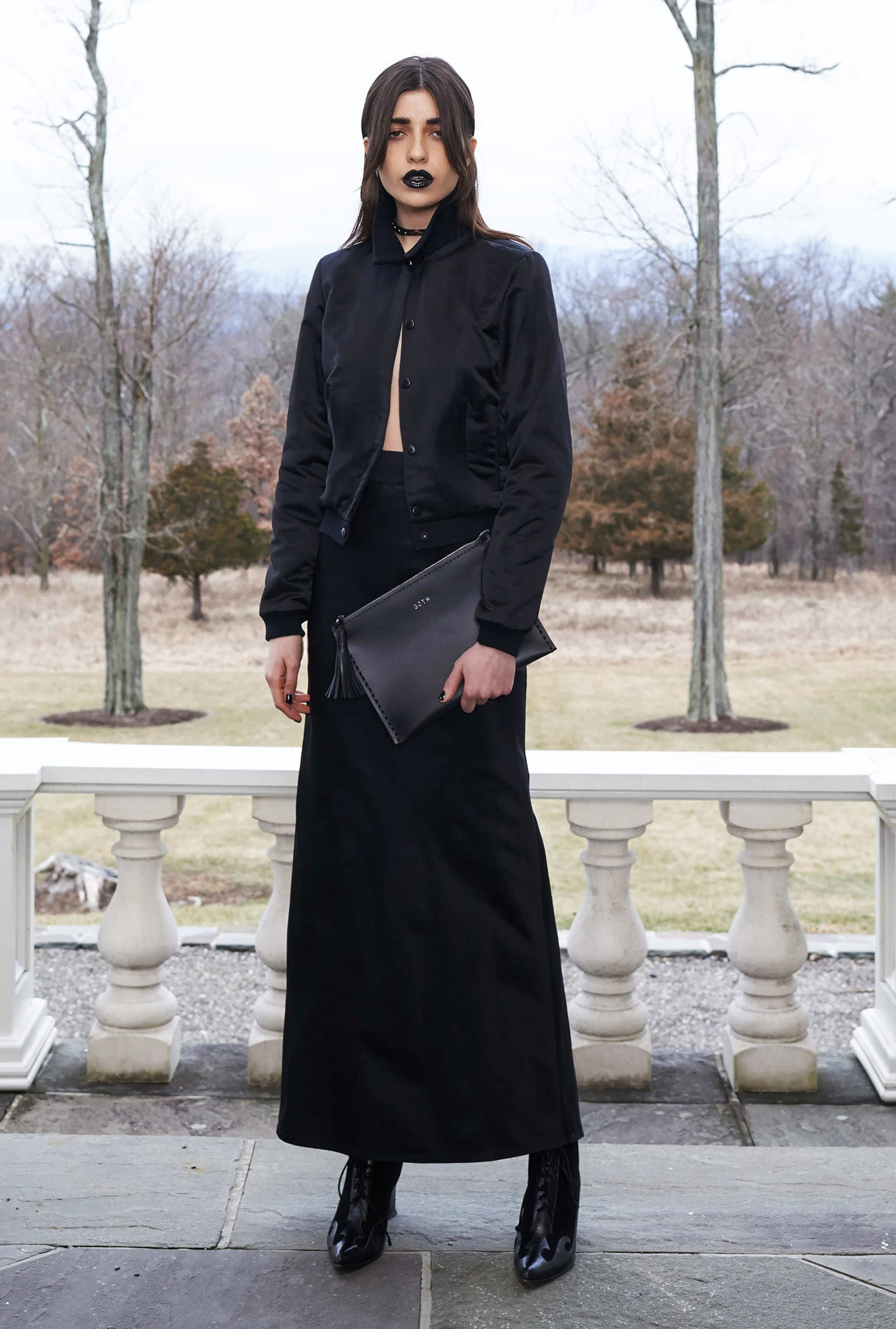 Vanessa M IMG Model Wendy Nichol Clothing Designer Fashion Show Runway 13 Incarnations Autumn Winter 2016 AW16  Handmade in NYC custom tailoring Black Silk Charmeuse Satin Club Bomber Jacket w. White Hand Embroidered Back & Long Bias Cut Skirt in Black Silk Duchess Satin