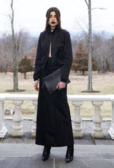 Vanessa M. IMG Model Wendy Nichol Clothing Designer Made to Order Custom Tailoring Made to Measure Handmade in NYC New York City Fashion Runway Show AW16 13 Incarnations Black Silk Charmeuse Satin Club Bomber Jacket w. White Hand Embroidered Back & Long Bias Cut Skirt in Black Silk Duchess Satin  pockets buttons collar Goth