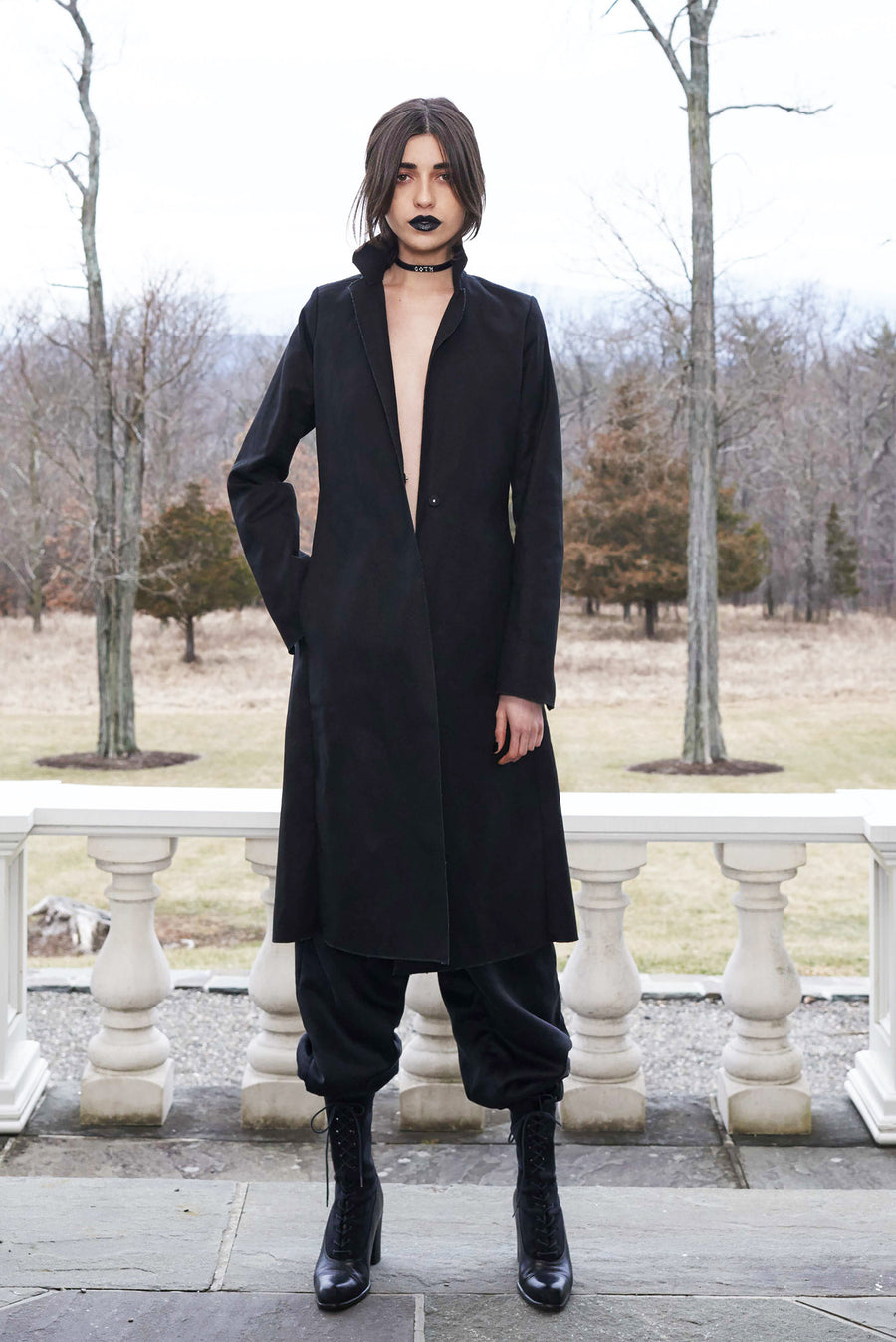 Vanessa M. IMG Model Wendy Nichol Clothing Designer Made to Order Custom Tailoring Made to Measure Handmade in NYC New York City Fashion Runway Show AW16 13 Incarnations Black Canvas Coat Structured Jacket Silk Charmeuse Ruche Ankle Pants Rayon Wool Interlining Warm Sweatpants High Waist Waisted