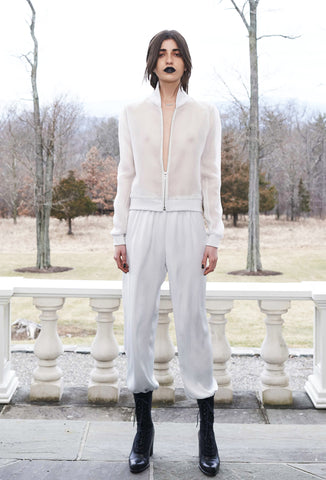 Vanessa M. IMG Model Wendy Nichol Clothing Designer Made to Order Custom Tailoring Made to Measure Handmade in NYC New York City Fashion Runway Show AW16 13 Incarnations White Sheer Silk Club Bomber Jacket w. White Ghost & White Silver Gray Grey Silk Ruche Ankle Pants High Waist Waisted Skinny pajama sweatpants