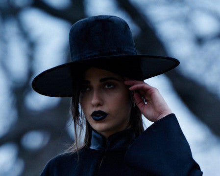 Leather & Suede Wide Brim Hat AW16 Wendy Nichol Designer Handmade in NYC New York City Tall El Topo Wide Brim Witch Hat Beyonce Formation Gothic Goth Victorian Black Suede Leather Hat Vanessa M IMG Model