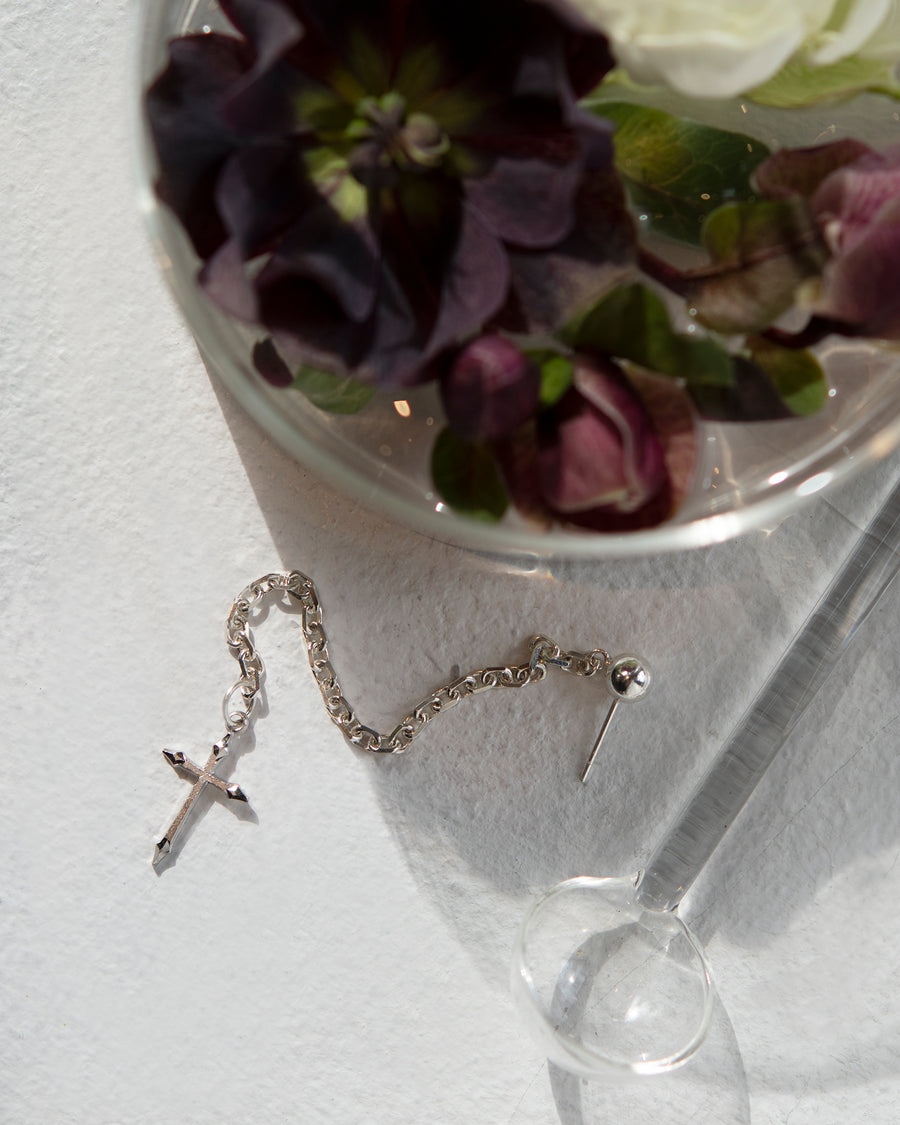 Cross Dangle Chain Amulet Earring