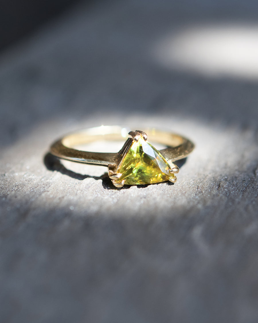 Pyramid Cut Sphene Iridescent Green Ring