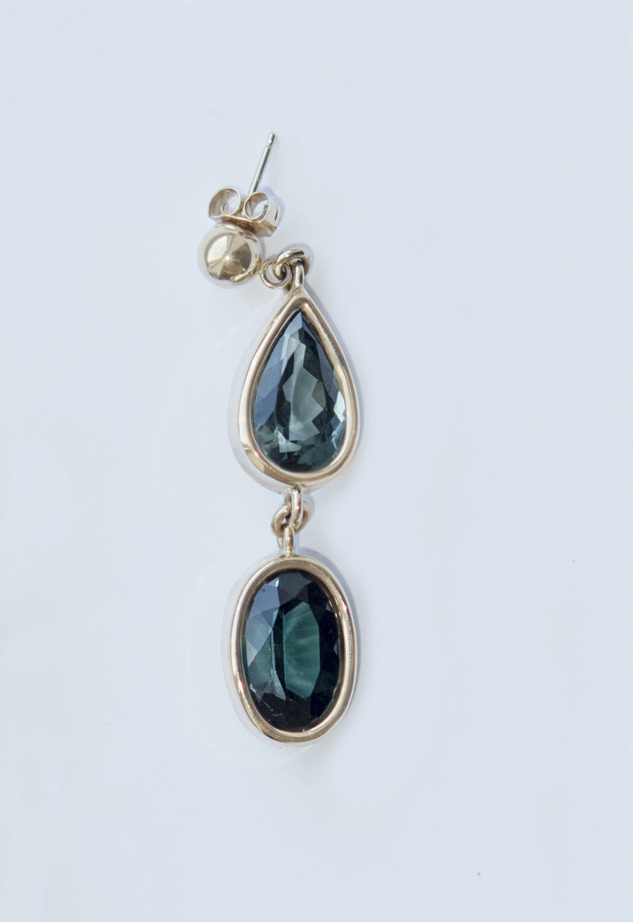 Teardrop and Oval Double Tourmaline Dangle Stud