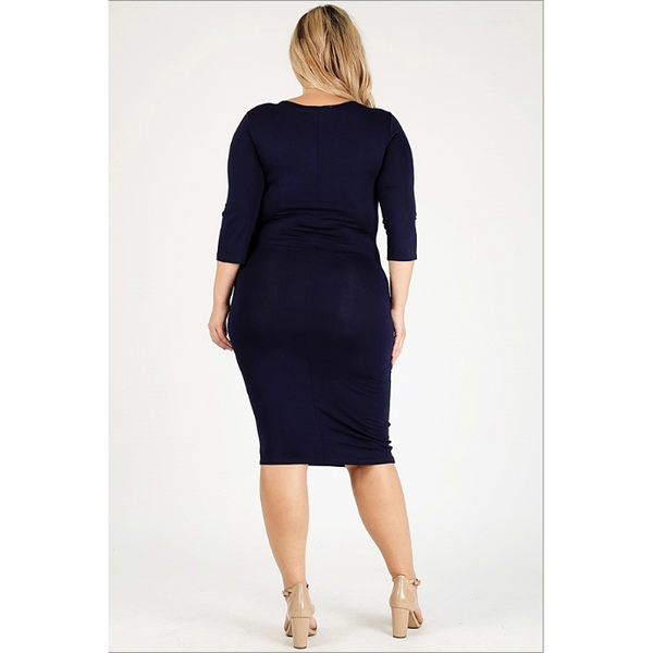 Plus Size - Nina Navy Blue Long Sleeve knit dress