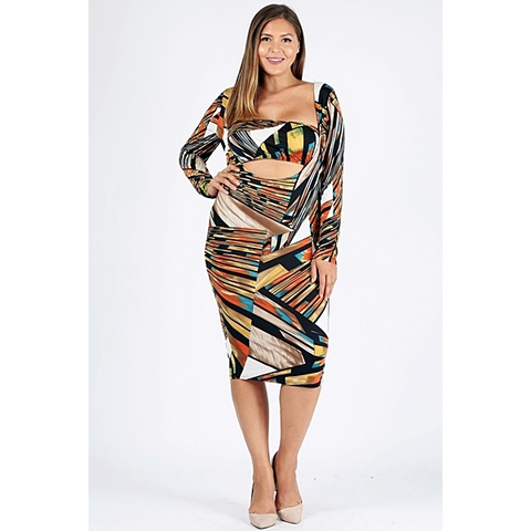 Plus Size - Elaine Knit Print Dress