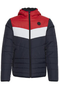 Blend Colour Block Puffer Jacket - Mars Red