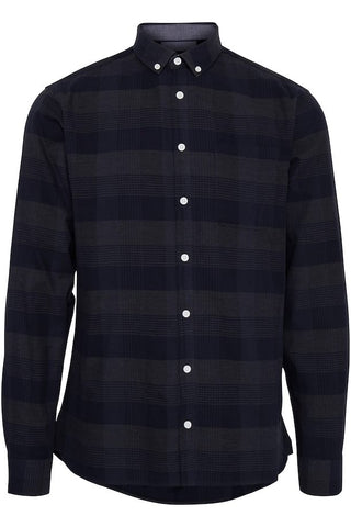 Casual Friday Long Sleeve Check Shirt - Night Navy