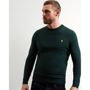 Lyle & Scott Cotton Merino Crew Jumper - Jade Green Marl