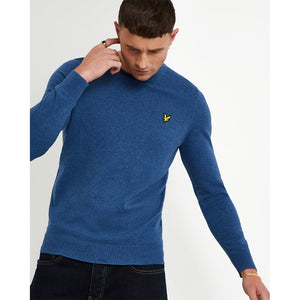 Lyle & Scott Cotton Merino Crew Jumper - Lapis Blue Marl