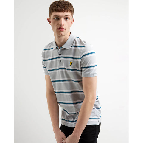 Lyle & Scott Multi Stripe Polo - Light Silver