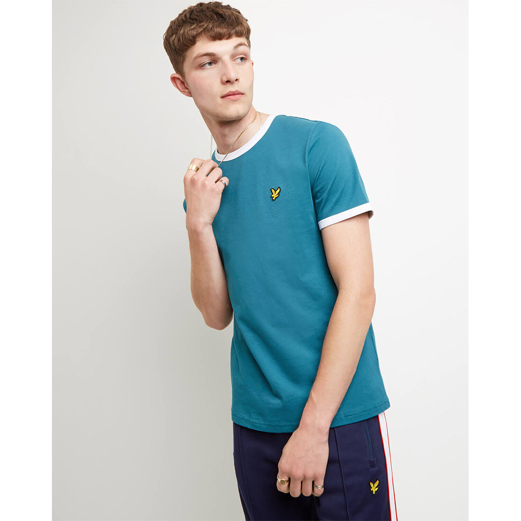 Lyle & Scott Ringer T-Shirt - Petrol Teal/White