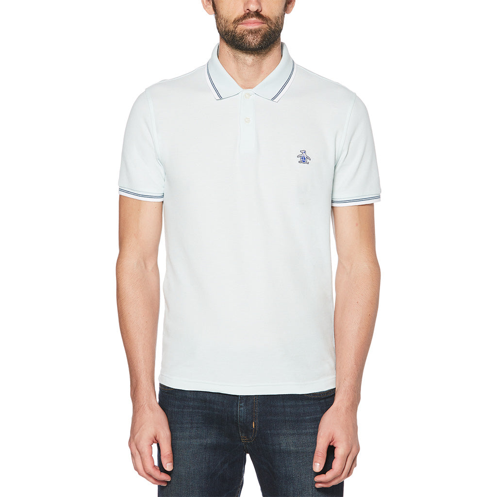 Original Penguin Logo Tipped Polo - Pastel Blue