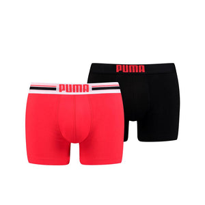 Puma Placed Logo Boxer Shorts - Red/Black