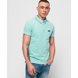 Superdry Classic Poolside Pique Polo - Spearmint-White