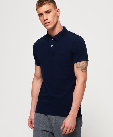Superdry Vintage Destroyed Polo - Beach Navy Marl