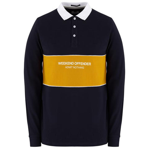 Weekend Offender Meridia Long Sleeve Polo - Navy
