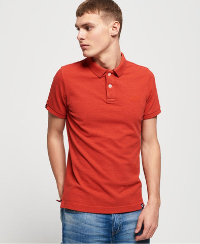 Superdry Vintage Destroyed Polo - Sunset Orange Marl