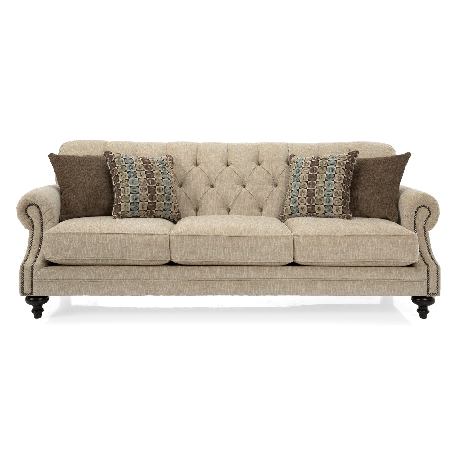 Studded Decor-Rest Sofa with Turned Legs