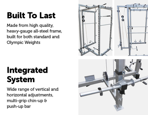 Image of Power Rack Squat Cage Stands with Lat Pulldown For Home Gym