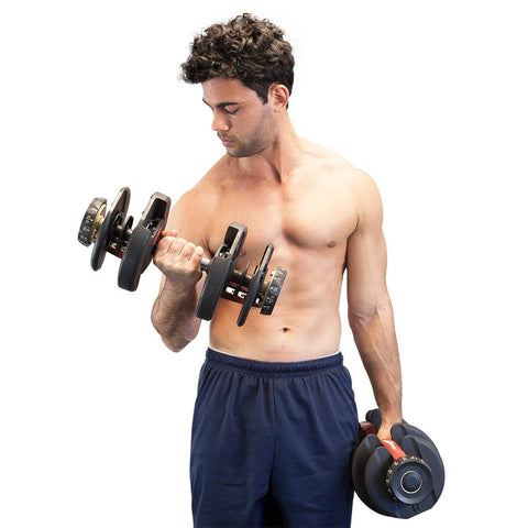 Image of Adjustable Dumbbell 52.5lb Pairs with Stand Afterpay Buy Now Australia Fitness at home