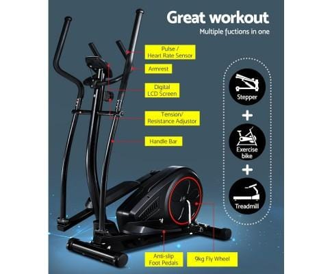 Black Everfit Elliptical Cross Trainer Exercise Bike Fitness Equipment Home Gym Fitness At Home Afterpay Zip Online Store Buy Melbourne Sydney