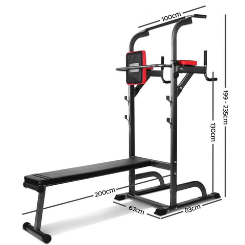 Multi Station Chin Up Flat With Bench Station Steel Frame