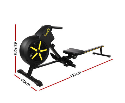 Image of Steel Frame Everfit Black Rowing Exercise Machine Rower Resistance Free Shipping Fitness At Home Australia Afterpay Zip