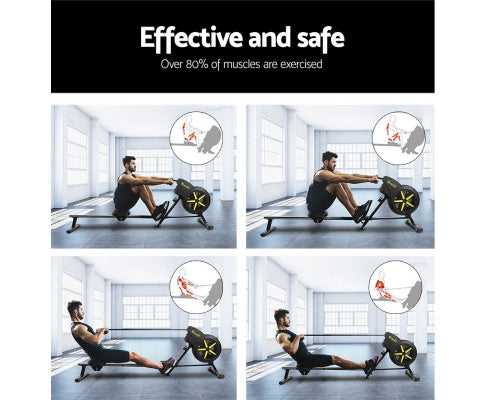 Steel Frame Everfit Black Rowing Exercise Machine Rower Resistance Free Shipping Fitness At Home Australia Afterpay Zip
