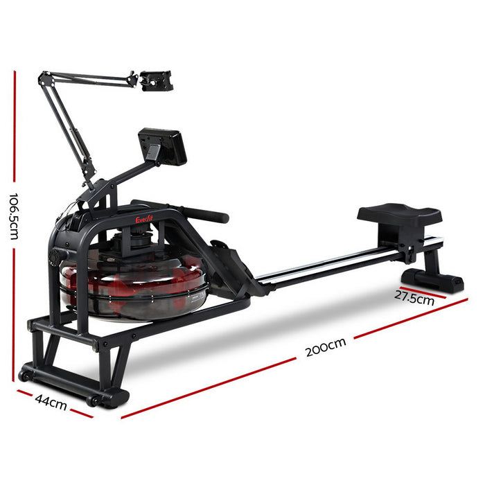 Rowing Exercise Machine Rower Water Resistance Fitness Gym Home Cardio