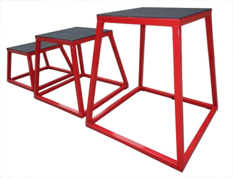 Rubber Base Plyometric Box Set of 3 Plyo Jump Boxes