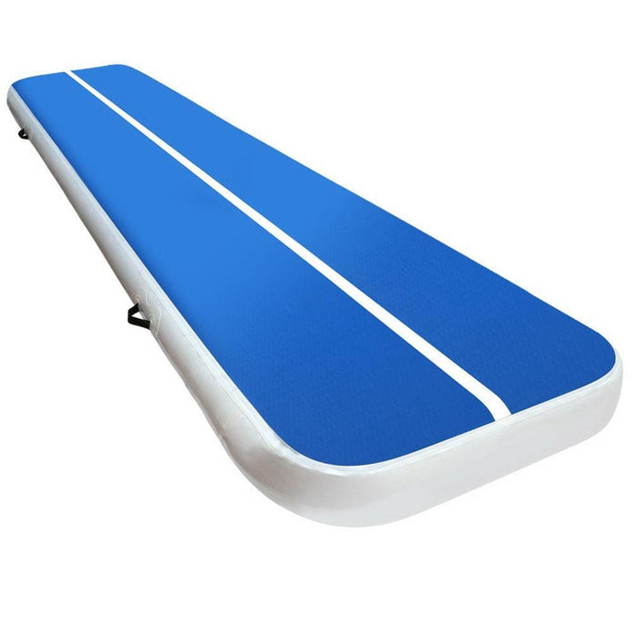 Inflatable Fabric Air Track Mat 20cm Thick Gymnastic Tumbling Blue And White 4m x 1m