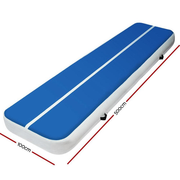 Air Inflatable Quick To Inflate Fabric Air Track Mat 20cm Thick Gymnastic Tumbling Blue And White
