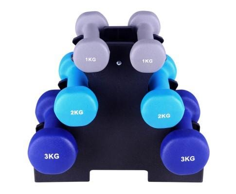 Everfit 6 Piece 12kg Dumbbell Weights Set w/ Stand Afterpay Buy Now Australia Fitness at  home