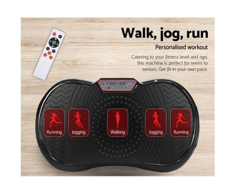 Vibration Plate with Roller Wheels Black Afterpay Buy Now Australia Fitness at  home