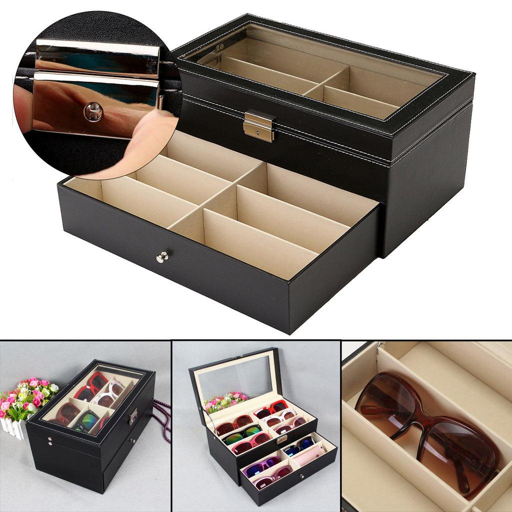 Black Oversized Eyeglass Storage Display Case Organizer