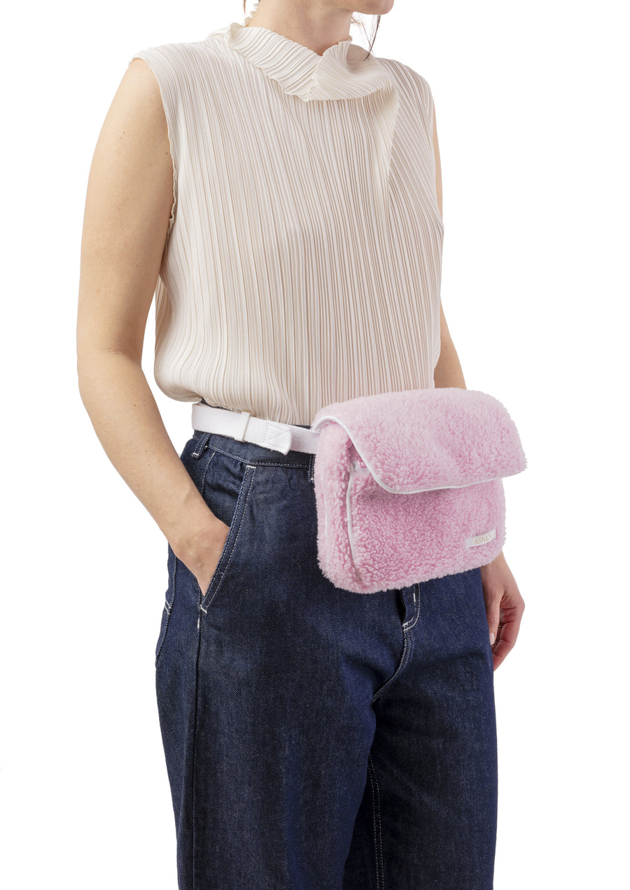 Krnach  Belt Bag  St. Moritz Pink Fleece   Eco  Sustainable  Upcycled Fashion Bag Model