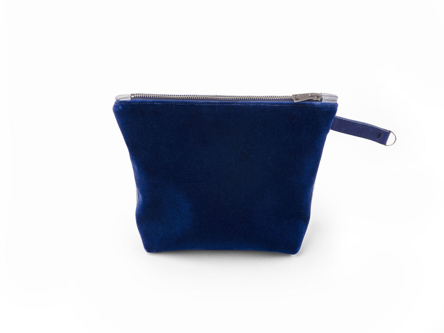 Krnach  Extra Large Zip Pouch  Mont Saint-Michel Velvet Light Blue Jacquard   Eco  Sustainable  Upcycled Fashion Bag