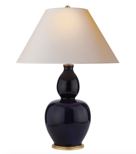 Yue Double Gourd Table Lamp, Navy Porcelain with Natural Paper Shade