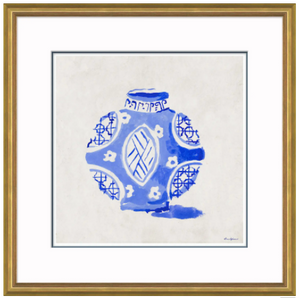 """Dynasty Jar, Blue"" By Dana Gibson, Framed Art Print"