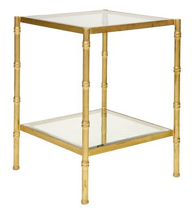 Serena Gold Leafed Bamboo Side Table