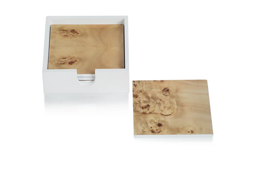 Set of 4 Burl wood Coasters