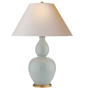 Yue Double Gourd Table Lamp, Ice Blue Porcelain with Natural Paper Shade