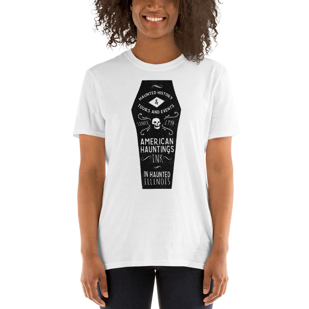 Black Coffin Short Sleeve Tee Shirt - American Hauntings