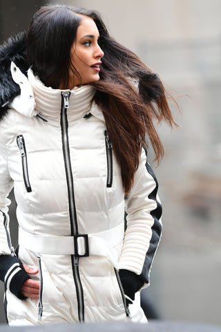 Model Wearing Trendy and Classy Cruelty Free Down Jackets from Infinia Apparel