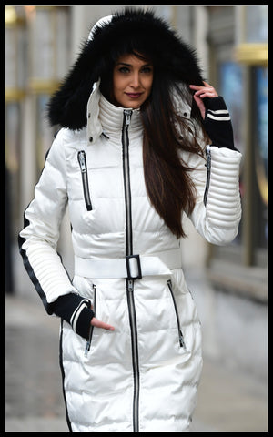 Gorgeous Canadian Model Looking Chic in High Tech Winter Down Jacket From Infinia Apparel